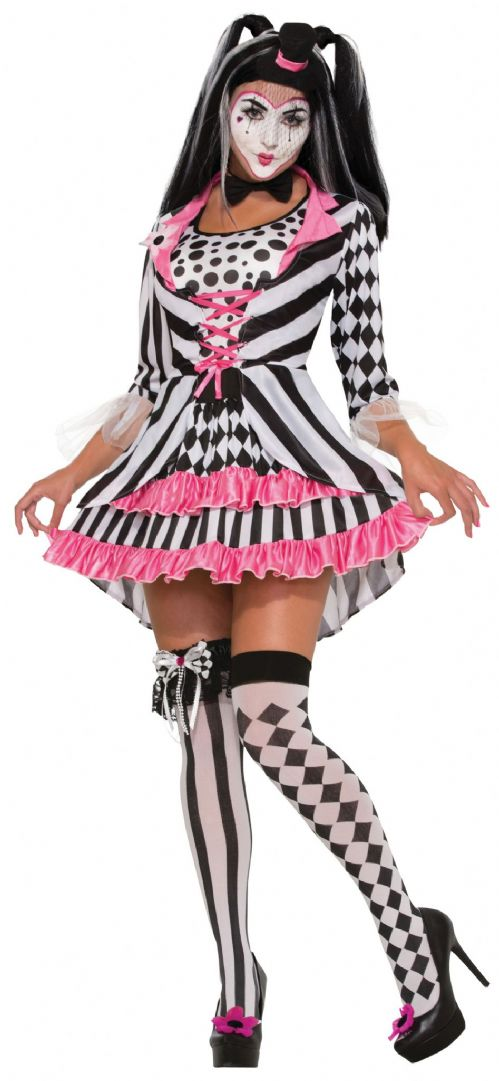 Ladies Harlequin Clown Costume Medieval jester Clown Fancy Dress Outfit